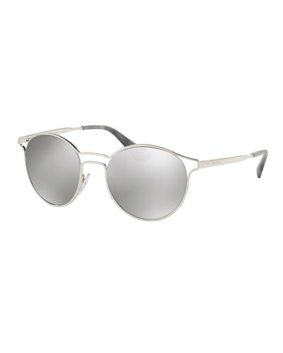 Round Metal Open-Inset Sunglasses, Silver