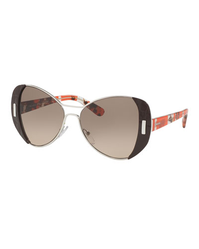 Capped Gradient Butterfly Sunglasses, Brown