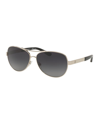 Metal Aviator Sunglasses, Silver