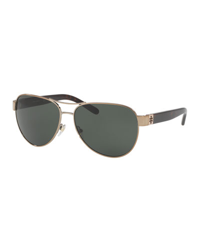 Polarized Contrast-Arm Aviator Sunglasses, Gold/Tortoise