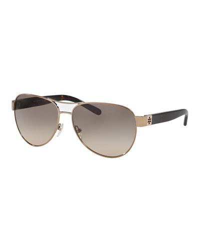 Gradient Contrast-Arm Aviator Sunglasses, Gold/Black