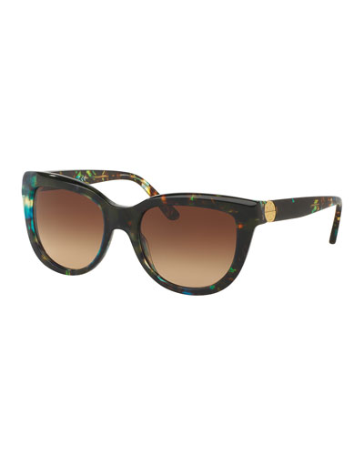 Squared Cat-Eye Sunglasses, Blue/Brown