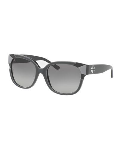 Square Notched-Trim Sunglasses, Gray