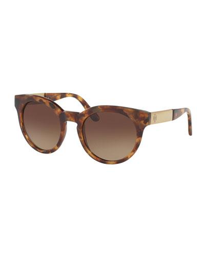 Rounded Square Gradient Sunglasses, Vintage Tortoise