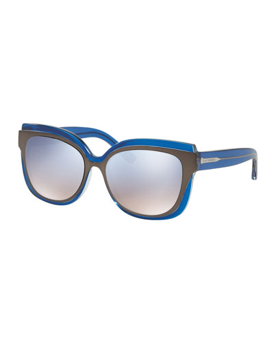 Square Mirrored Layered Sunglasses, Navy/Pewter