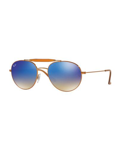 Mirrored Round Brow-Bar Sunglasses, Blue/Bronze