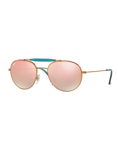 Mirrored Round Brow-Bar Sunglasses, Copper/Bronze