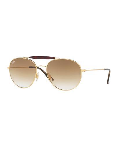 Gradient Round Brow-Bar Sunglasses, Brown/Gold