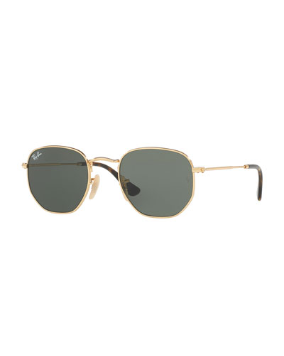 Monochromatic Hexagonal Sunglasses, Green/Gold