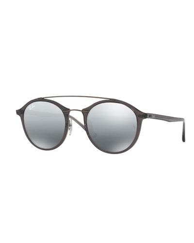 ray ban double bridge round sunglasses neiman marcus. Black Bedroom Furniture Sets. Home Design Ideas