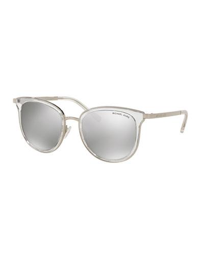 Mirrored Transparent Square Sunglasses, Clear/Silver