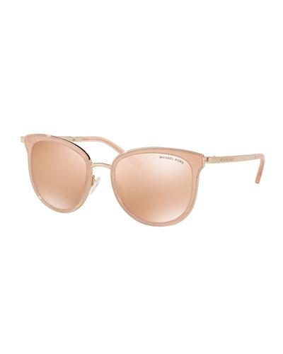 Mirrored Square Sunglasses, Rose Gold