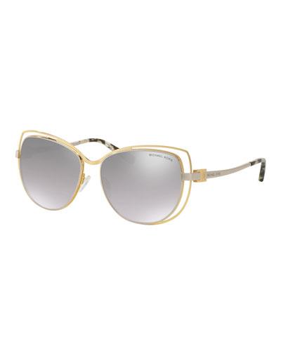 Wire-Rim Mirrored Cat-Eye Sunglasses, Gold/Silver