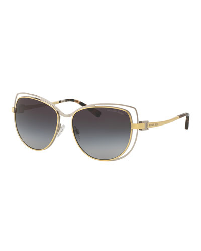 Wire-Rim Gradient Cat-Eye Sunglasses, Silver/Gold