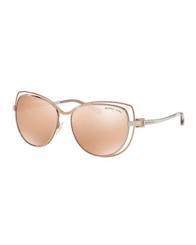 Wire-Rim Mirrored Cat-Eye Sunglasses, Rose Gold