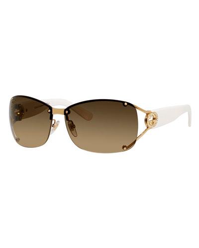Rimless Logo-Temple Sunglasses, Gold/White