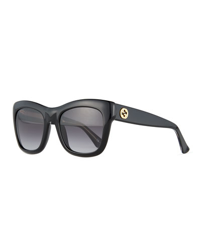 Gradient Squared Butterfly Sunglasses, Black