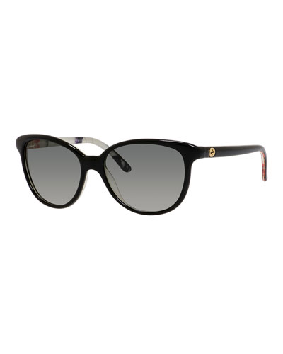 Floral-Interior Oversized Cat-Eye Sunglasses, Black