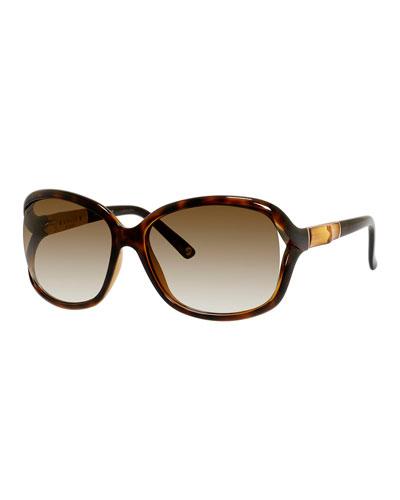 Gradient Bamboo-Trim Square Sunglasses, Havana
