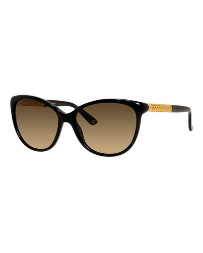 Metal-Trim Diamantissima Cat-Eye Sunglasses, Black