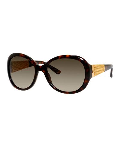 Oversized Diamantissima Butterfly Sunglasses, Havana