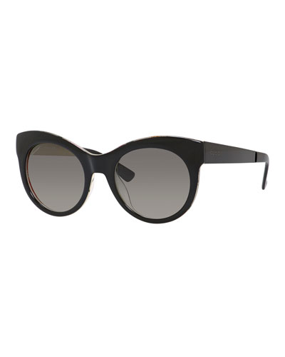 Floral-Interior Cat-Eye Sunglasses, Black
