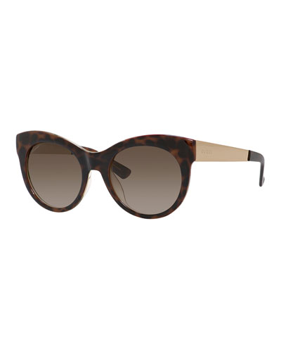 Floral-Interior Cat-Eye Sunglasses, Brown