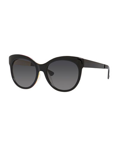 Floral-Interior Gradient Butterfly Sunglasses, Black
