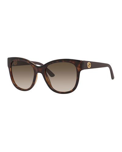 Gradient Diamantissima Cat-Eye Sunglasses, Havana