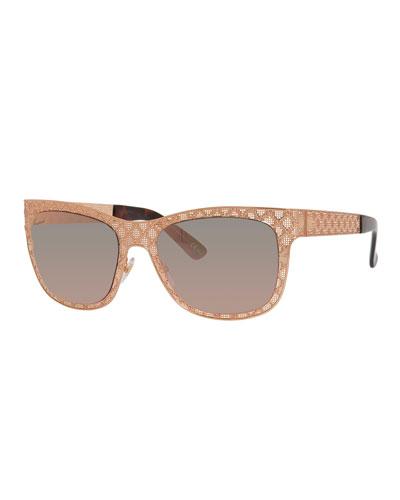 Stamped Square Gradient Sunglasses, Gold/Copper
