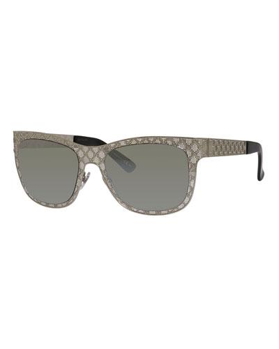Stamped Square Monochromatic Sunglasses, Silver