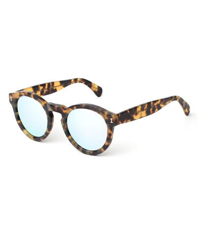 Leonard Round Mirrored Sunglasses, Tortoise/Silver