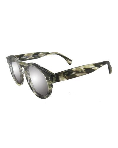 Leonard Round Sunglasses, Black/White