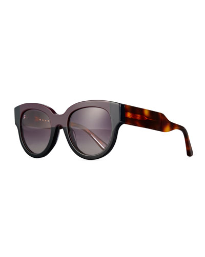 Cromo Square Two-Tone Sunglasses, Wine/Black