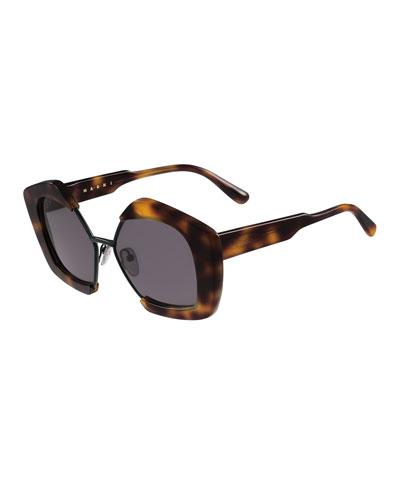 Geometric Monochromatic Sunglasses, Havana