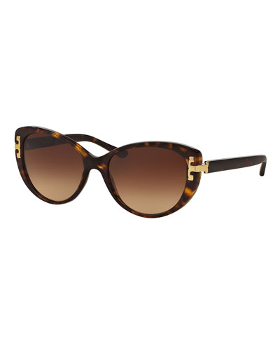 Logo Cat-Eye Sunglasses, Dark Tortoise