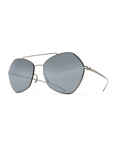 Esse Geometric Aviator Sunglasses, Silver