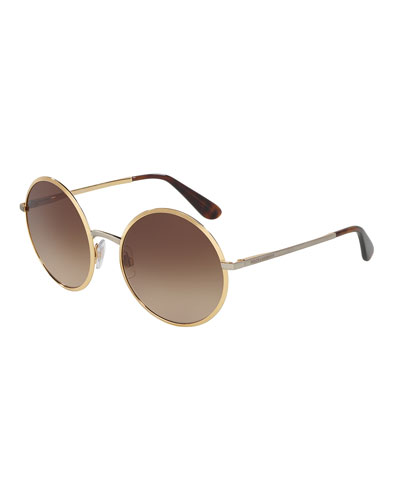 Gradient Round Sunglasses, Gold