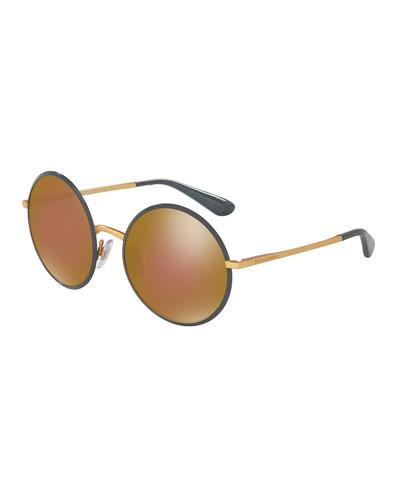 Mirrored Round Sunglasses, Gray