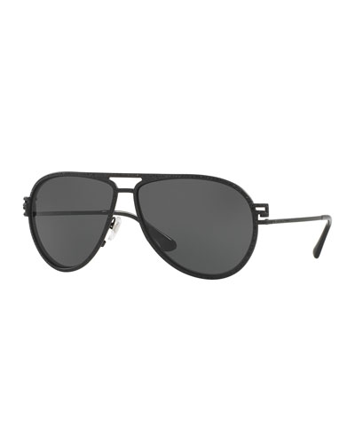 Monochromatic Pavé Aviator Sunglasses, Black