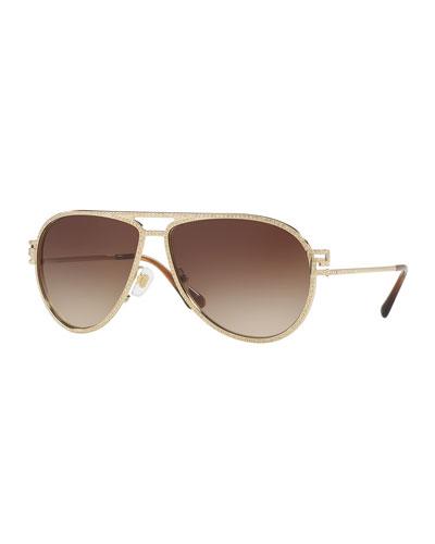 Gradient Pavé Aviator Sunglasses, Gold