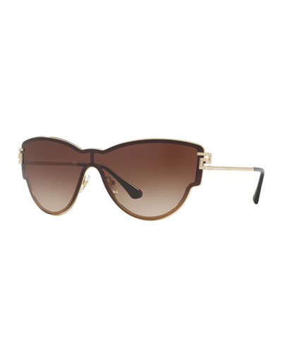 Gradient Shield Cat-Eye Sunglasses, Brown