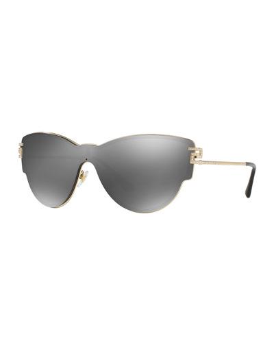 Mirrored Shield Cat-Eye Sunglasses, Gray