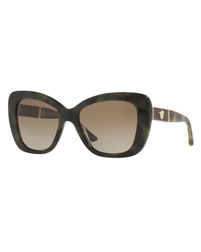 Leather-Trim Squared Cat-Eye Sunglasses, Olive/Brown