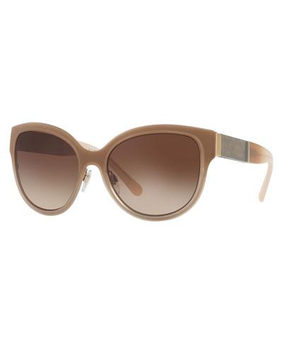 Gradient Square Cat-Eye Sunglasses, Gold