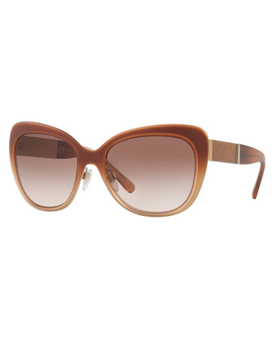 Gradient Butterfly Sunglasses, Gold/Nude