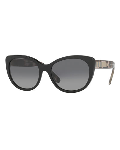 Check-Trim Polarized Cat-Eye Sunglasses, Black