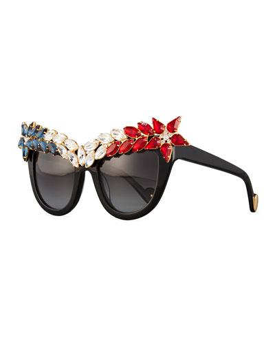 Decadence All American Swarovski® Cat-Eye Sunglasses, Red/White/Blue
