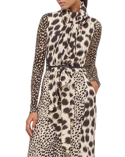 Cheetah-Print Silk Scarf, Date/Steppe