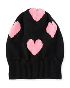 Cashmere Heart Beanie Hat, Black/Pink